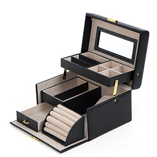 SONGMICS Black Leather Jewelry Box Lockable Makeup Storage Case
