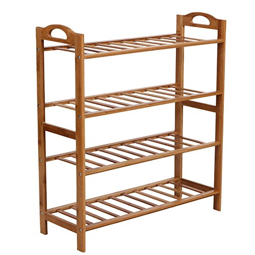 SONGMICS Bamboo Shoe Rack 4-Tier Entryway Shoe Shelf Storage
