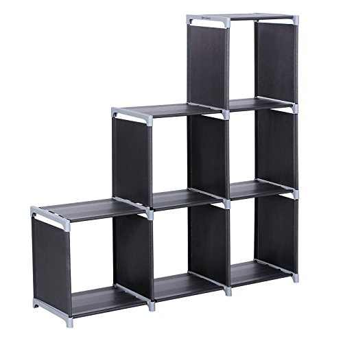 SONGMICS 3-tier Storage Cube Closet Organizer Shelf 6-cube Cabinet