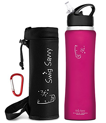 Swig Savvy's Stainless Steel Insulated Water Bottle, Wide Mouth