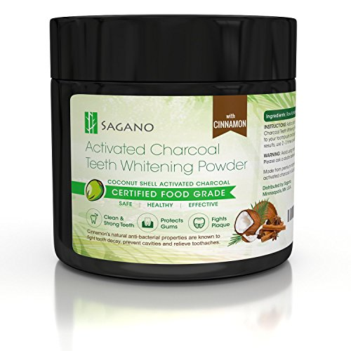Natural Activated Charcoal Teeth Whitening Powder with Organic Cinnamon