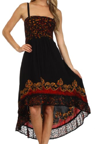 $39.99 Sakkas 103141 Adara Batik Hi Lo Dress - Black