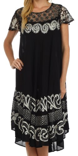 Sakkas 87 Calista Embroidered Caftan Dress - Black /