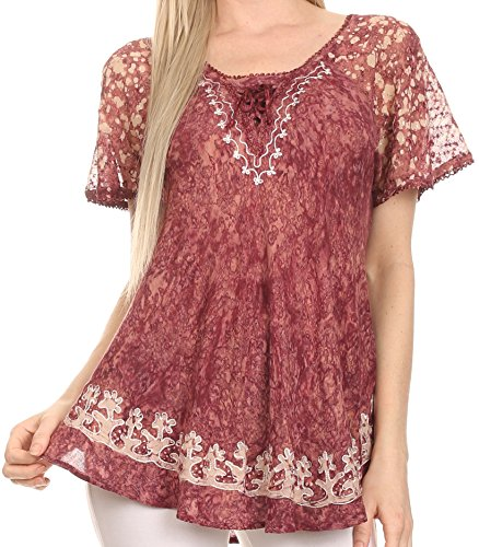 Sakkas 16482 - Ash Speckled Tiedye Embroidered Cap Sleeve