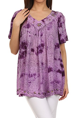 $28.99 Sakkas 41226 - Short sleeve vine print V-neck Peasant