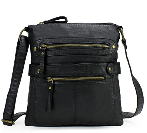 Scarleton Casual Double Zipper Crossbody Bag H182001 - Black