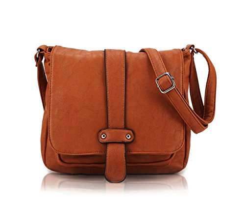 Scarleton Accent Strap Flap Crossbody Bag H153925 - Camel