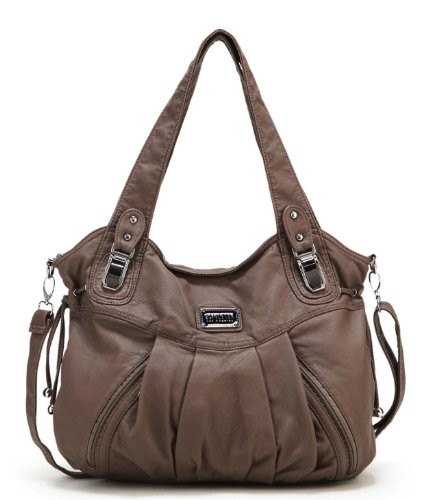 Scarleton Zipper Washed Shoulder Bag H147242 - Light Brown