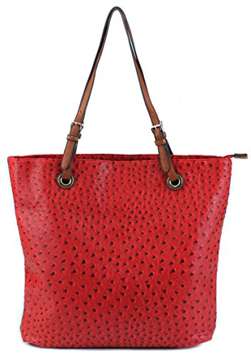 Scarleton Ostrich Large Tote H115610 - Red