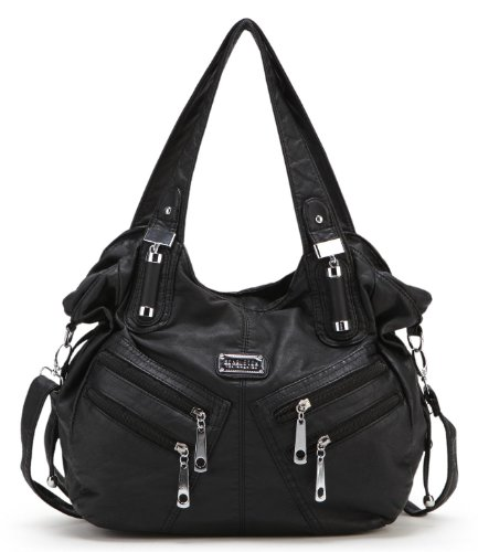 $29.99 Scarleton Front Zippers Washed Shoulder Bag H147601 - Black