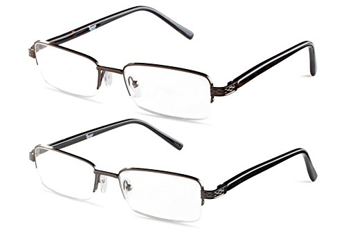 Half Rimmed Rectangular Reading Glasses Gunmetal With Brown +2.00