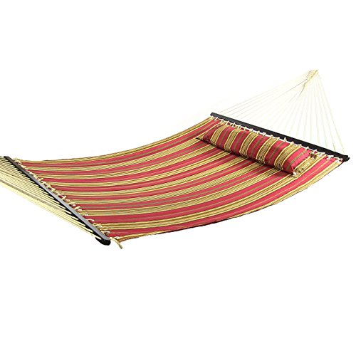 Sunnydaze Red Stripe Quilted Double 2 Person Hammock with