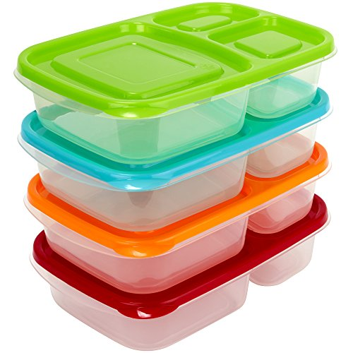 Sunsella Buddy Boxes - 3 Compartment Containers (4 Pack)
