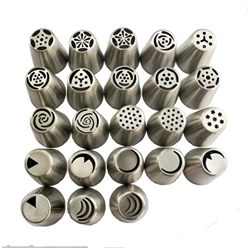 TANGCHU Russian Piping Tips 23PCS/SET Stainless Steel Large Size