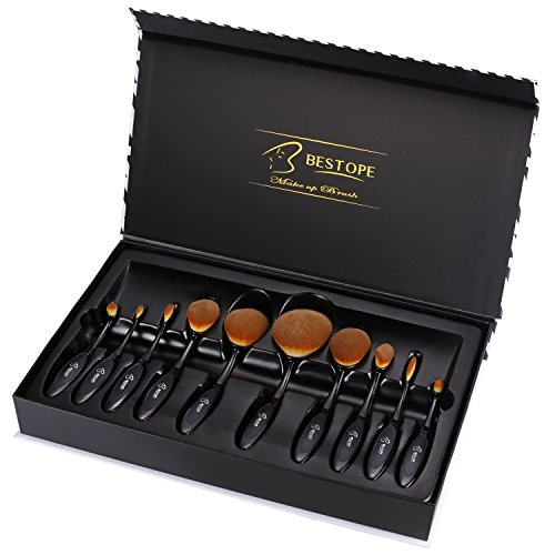 BESTOPE Makeup Brushes 10 Pieces Oval Makeup Brush Set