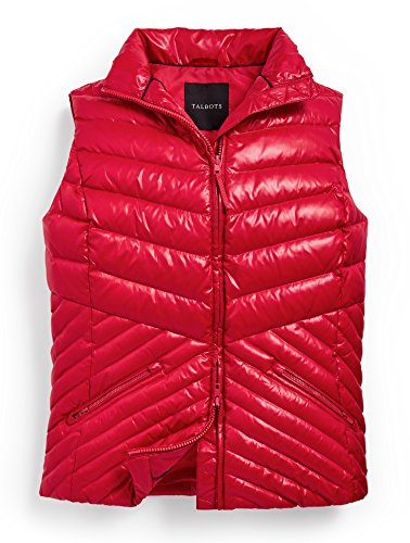 Talbots Chevron-Quilted Ciré Puffer Vest - Classic Red (XS)