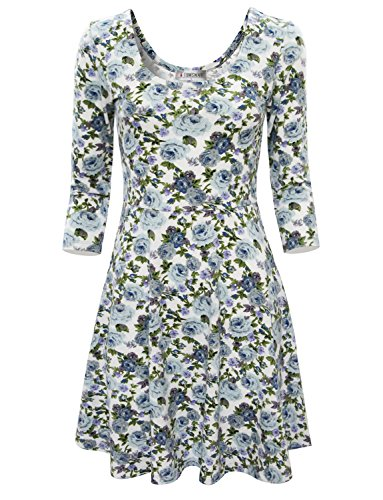 Tom's Ware Women Elegant Floral Print Long Sleeve Scoop