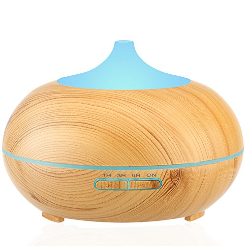 URPOWER Aromatherapy Essential Oil Diffuser 300mlWood Grain Ultrasonic Cool