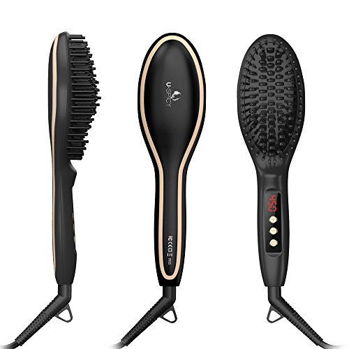 USpicy Hair Straightener Brush with FREE Heat Resistant Glove