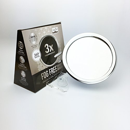 3x Magnification No Fog Shower Mirror with Rotating, Locking