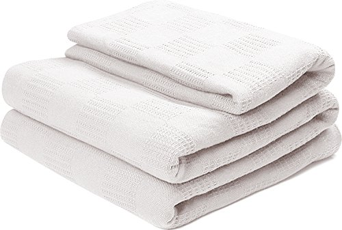 Cotton Throw Blankets (King, White) Breathable Thermal Bed/Sofa Blanket