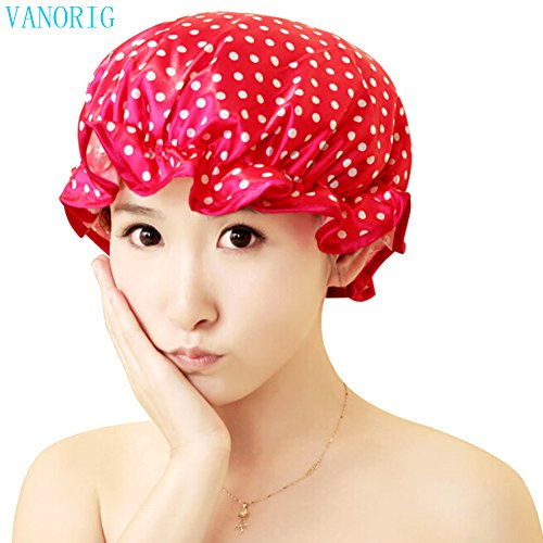 Waterproof Women Shower Caps Bath Cap VANORIG Cute Double