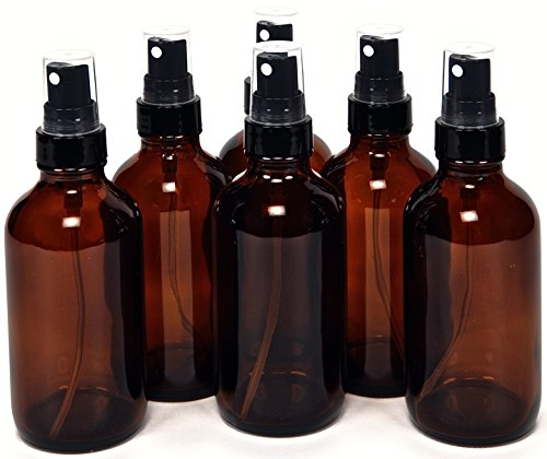 6, Amber, 4 oz Glass Bottles, with Black Fine