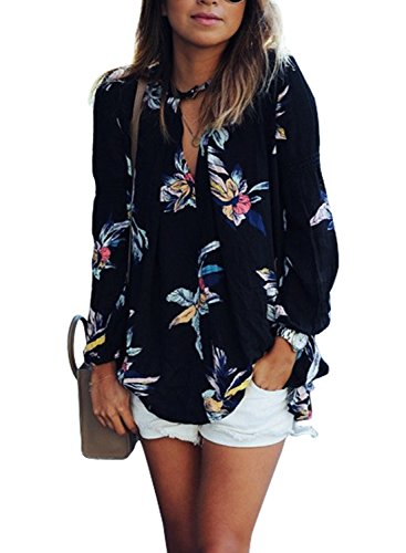 Phoenix Women Casual Floral Print Long Sleeve Chiffon Shirt