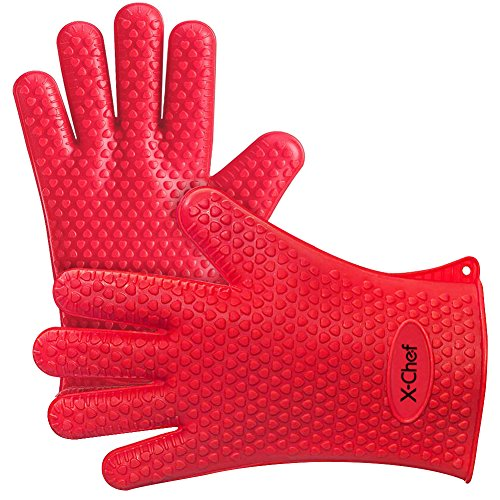 Silicone Gloves, X-Chef Heat Resistant Oven Mitts BBQ Gloves