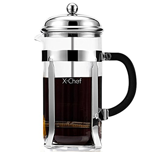 French Press, X-Chef 1000ml Heat Resistant Glass Coffee Press