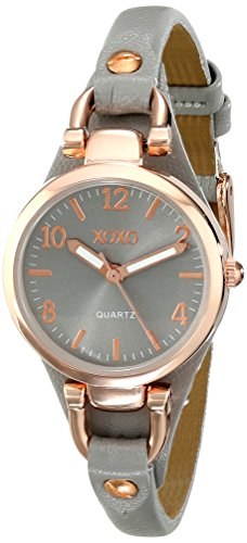 XOXO Women's XO3400 Round Gray Watch with Narrow Faux-Leather