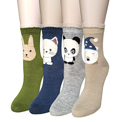 Sweet Animal Design Women's Casual Comfortable Cotton Crew Socks