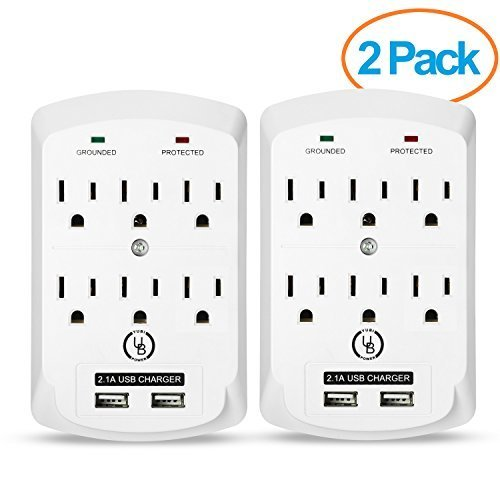 Yubi Power 6 Outlet Power Plug Surge Protector Wall