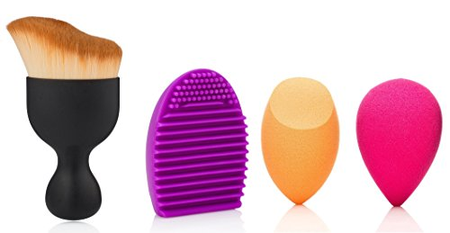 MakeUp Sponge Brush Set. 1 S-shaped Powder Brush,1 MakeUp