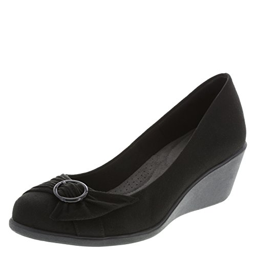 dexflex Comfort Women's Black Suede Eleanor Wedge 5 Wide