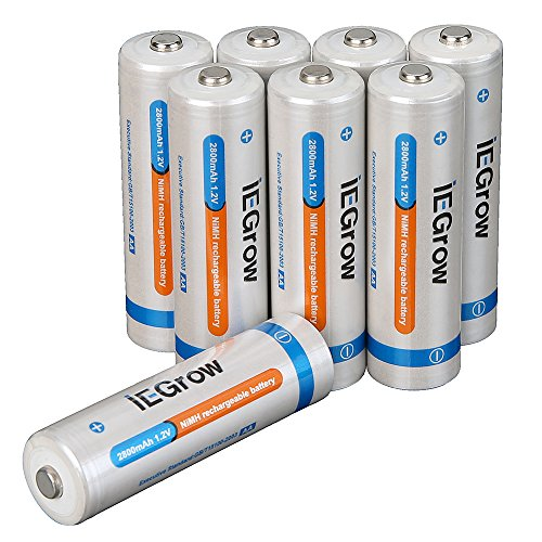 iEGrow 2800mAh AA Ni-MH Rechargeable Batteries (8-pack)