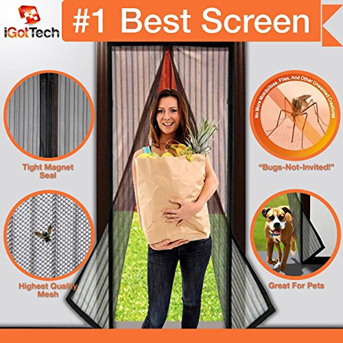 Magnetic Screen Door, Full Frame Velcro. Fits Door Openings
