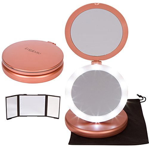 iLuminate LED Folding Vanity Makeup Mirror with Bonus Small