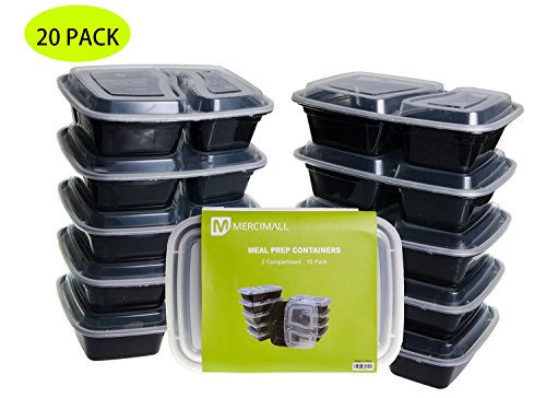 Mercimall 20Pack 35oz Meal Prep Containers 2 Compartment Lunch