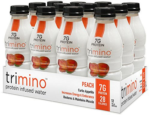 trimino protein infused water, Peach, 16 Ounce (Pack of