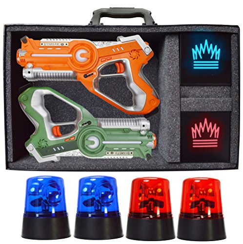 Get A Free Dynasty Toys Capture the Flag Glow in the Dark Laser Tag Expansion Kit for Indoor Games at Home / Outdoor Night Birthday Parties