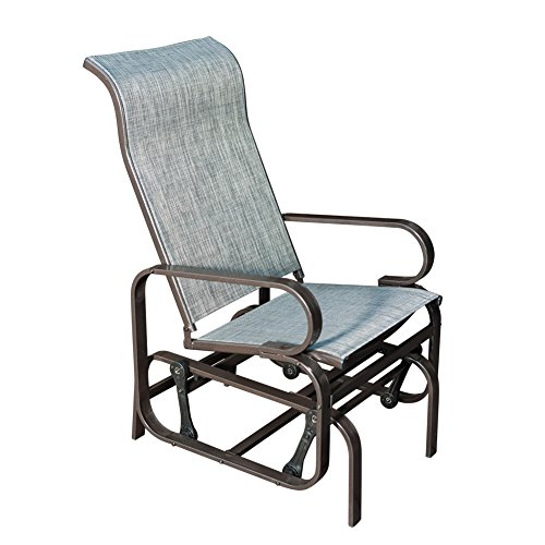 SunLife Outdoor Garden Rocking Chair,Steel Frame Patio Rocker Gliders,Gray