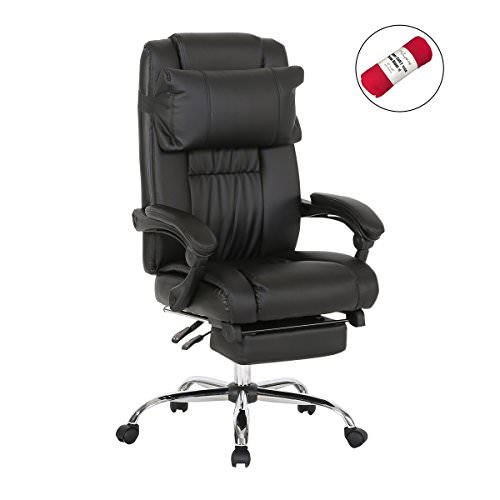 Get A Free HollyHOME High Back PU Leather Recliner Office Executive Chair with Footrest, Black