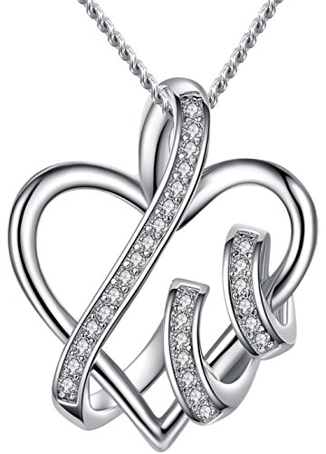 ANEWISH Fine Jewelry Womens Endless Love Heart Pendant Necklace