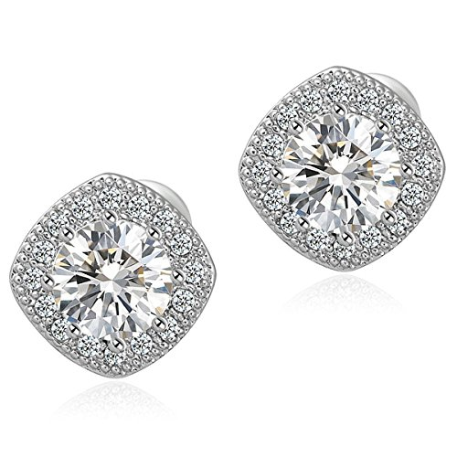 18K White Gold Plated Square Shape Stud Earrings Cz