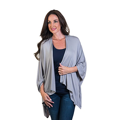 Agiato Women\'s Lightweight Long Sleeve Open Front Cardigan, Grey
