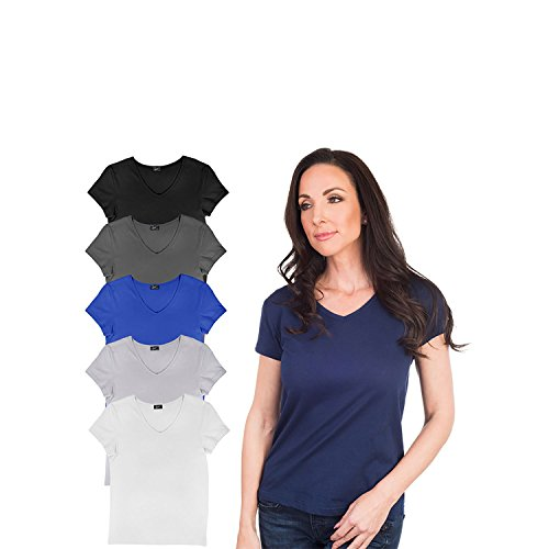 Agiato Women\'s Basic V Neck T-Shirt 6-Pack Multicolor XLarge