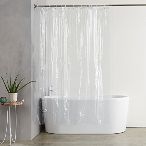 AmazonBasics Heavyweight Clear Shower Curtain Liner with Hooks (20-Gauge