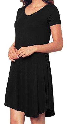 Angerella T shirt Dress Short Sleeve Tunic Casual Women