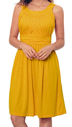 Angerella Yellow Dresses Sundresses For Women Summer Sleeveless Dress,Yellow,X-Large